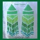 Pantone Color of 2013,Emerald Green, Beaded Dangle Earrings, Hand Woven, #TrendyTreasuresByRamona