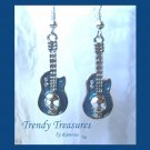 Blue 3-D Skull Guitar Earrings, Tibet silver charms, #TrendyTreasuresByRamona,