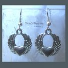 Winged Heart Earrings, Flying Heart,Tibet silver charms, #TrendyTreasuresByRamona,