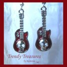 Red 3-D Skull Guitar Earrings, Tibet silver charms, #TrendyTreasuresByRamona,