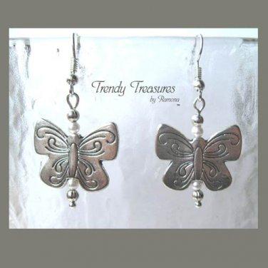 Butterfly Earrings,Silver Charm,Pearls,Original Design, #TrendyTreasuresByRamona,