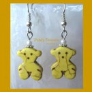 AdorableYellow Teddy Bears, Magnesite Shape Earrings, #TrendyTreasuresByRamona