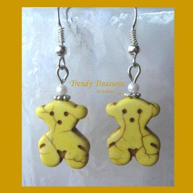 AdorableYellow Teddy Bears, Magnesite Shape Earrings, #TrendyTreasuresByRamona