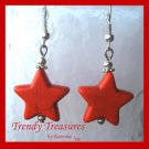 Adorable Magnesite Shape Earrings, Orange Stars, #TrendyTreasuresByRamona