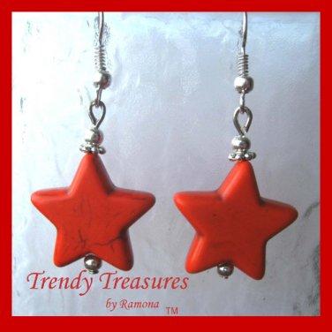 Adorable Magnesite Shape Earrings, Orange Stars, #TrendyTreasuresByRamona