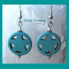 Turquoise Star in Circle, Adorable Magnesite Shape Earrings, #TrendyTreasuresByRamona