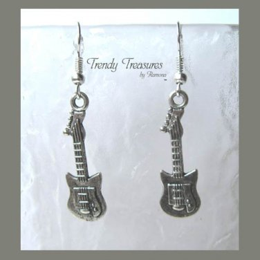 Tiny Guitar Charm Earrings,Rock & Roll, Tibet Silver, #TrendyTreasuresByRamona,