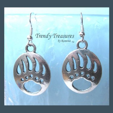 Badger Claw Print Cut-out Earrings,Tibet Silver, Charms, #TrendyTreasuresByRamona,
