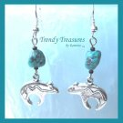 Heartline Bear Earrings,Tibet Silver,Turquoise Dangles, #TrendyTreasuresByRamona,