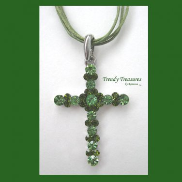 Green Swarovski Rhinestones Cross Pendant Necklace, Green Cords