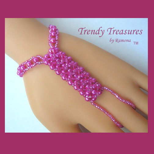Hot Pink Crystals,Glass Pearls Slave Bracelet,Original,Mel B,Heidi Klume