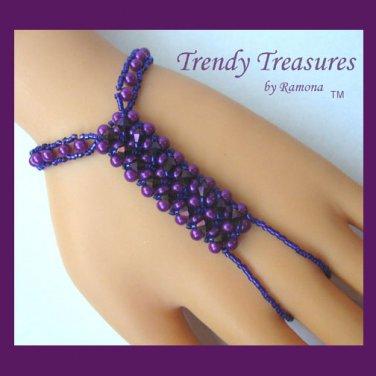 Radiant Orchid (Purple) Crystals,Glass Pearls Slave Bracelet,Original,Mel B,Heidi Klume