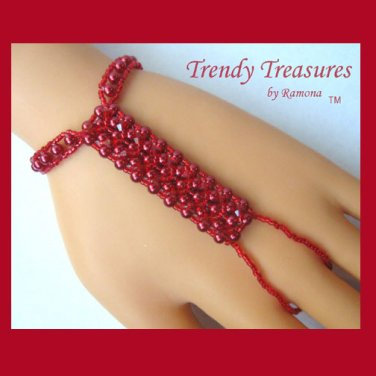 Bright Red Crystals,Glass Pearls Slave Bracelet,Original,Mel B,Heidi Klume