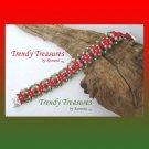 Red & Green Crystal Woven Bracelet,Fancy Bead Weaving,#TrendyTreasuresByRamona