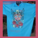 Peace Love Heart Design,Bling Rhinestone Embellished T-shirt,New,Turquoise,#TrendyTreasuresByRamona