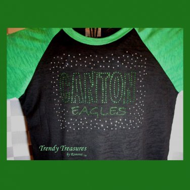 Bling Rhinestone Embellished T-shirt,New,Black & Green,School Spirit Design