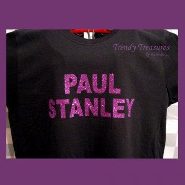 Paul Stanley, Original Design Bling Glitter Embellished T-shirt, New, Paul Stanley, KISS