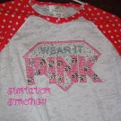 Bling Rhinestone Embellished T-shirt,New,Wear It Pink Design, Breast Cancer