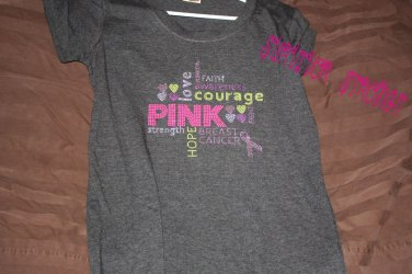 "Bling Rhinestone Embellished T-shirt, ""Hope Strength Love Fight Courage Ribbon"", Breast Cancer"
