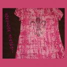 Pink Burn-Out T-shirt, Blinged-out, Fleur de Lis, Exclusive Design