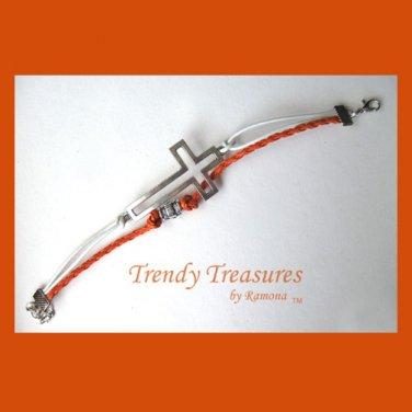 Orange,White & Silver Infinity Bracelet, Sideways Cross Charm, #TrendyTreasuresByRamona