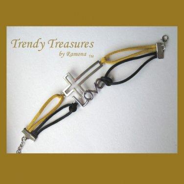 Yellow,Black, & Silver Infinity Bracelet, Sideways Cross Charm, #TrendyTreasuresByRamona