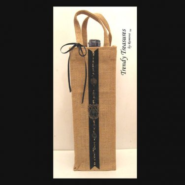 Wine Gift Bag, Hand-decorated, Black Jewels, Heavy-duty Jute, Strong Handles