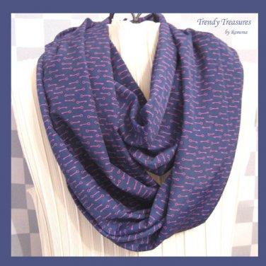 Infinity Scarf, Handmade, Beautiful Dark Blue, Purple Key Pattern, Very Soft