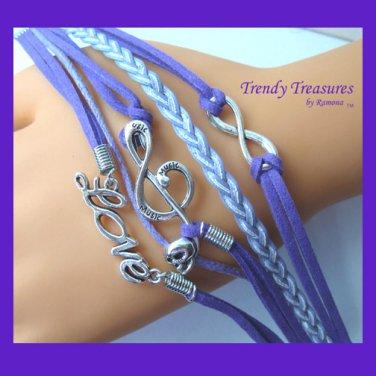 Purple Infinity Bracelet,LOVE word, Music Note with Skull, Silver, #TrendyTreasuresByRamona