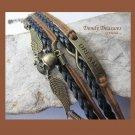 Brown & Black Infinity Bracelet,Wings,Skull,Dream,Antique Brass, #TrendyTreasuresByRamona