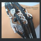 Black & Silver Infinity Bracelet,Giraffe,Owls Charms,#TrendyTreasuresByRamona