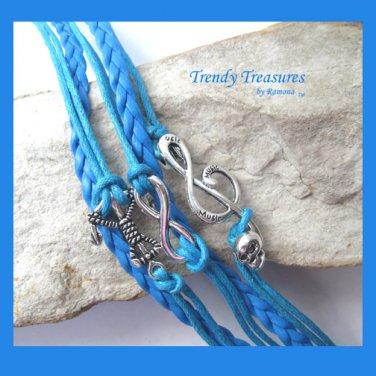 Blue Infinity Bracelet, Anchor, Music Note with Skull, Silver, #TrendyTreasuresByRamona