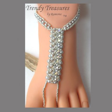 BareFoot Sandal,Silver Crystals, Ankle Bracelet, Beach, #TrendyTreasuresByRamona
