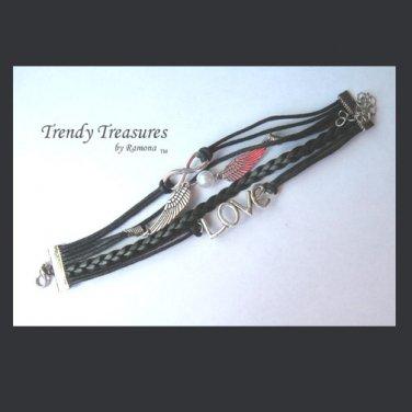 Black & Silver Infinity Bracelet,Love Charm,Wings,Pearl,#TrendyTreasuresByRamona