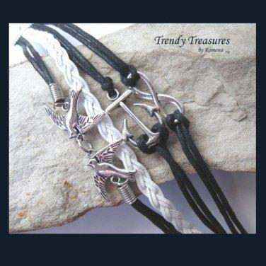 Black & Silver Infinity Bracelet,Birds,Anchor Charms,#TrendyTreasuresByRamona