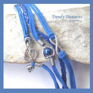 Blue Infinity Bracelet, Heart with Pearl, Music Note with Skull, Silver, #TrendyTreasuresByRamona