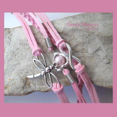 Pink Infinity Bracelet,Dragonfly,Heart,Pearl,Silver, #TrendyTreasuresByRamona