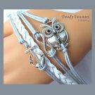 White,Silver Infinity Bracelet,Anchor,Owl Charms, #TrendyTreasuresByRamona