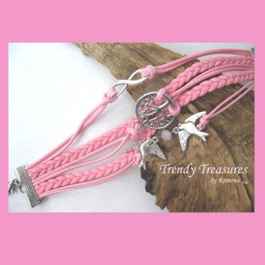 Pink Infinity Bracelet,Fertility Tree,Birds,Pearl, #TrendyTreasuresByRamona