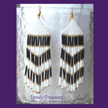 Purple, White, Beaded Dangle Earrings,Goldtone,Love Purple, #TrendyTreasuresByRamona