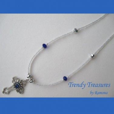 Vintage Cross Pendant Necklace,Earrings,Blue Rhinestones,Clear Crystals, Artisan Design
