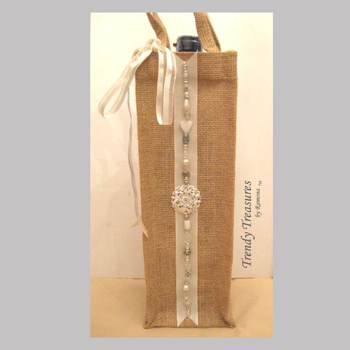 Wine Gift Bag, Hand-decorated, White Jewels, Heavy-duty Jute, Strong Handles