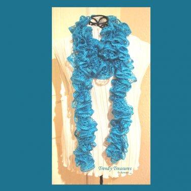 Turquoise Hand-made Ruffled Scarf, Extra-full,#TrendyTreasuresByRamona