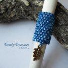 Large Bright Blue, Dreadlock Bead, Dread Sleeve, Leaf Charm, #TrendyTreasuresByRamona