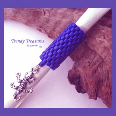 Ocean Blue Dreadlock Bead, Dread Sleeve, Gecko Charm, #TrendyTreasuresByRamona