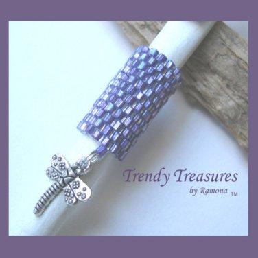 Iridescent Purple Dreadlock Bead, Dragonfly Charm, Dread Sleeve, #TrendyTreasuresByRamona