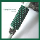 Small Emerald Green Dreadlock Sleeve, Dread Bead, Butterfly Charm, #TrendyTreasuresByRamona