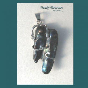 Wrapped Natural Pearl Pendant ,Polished Gemstone, #TrendyTreasuresByRamona