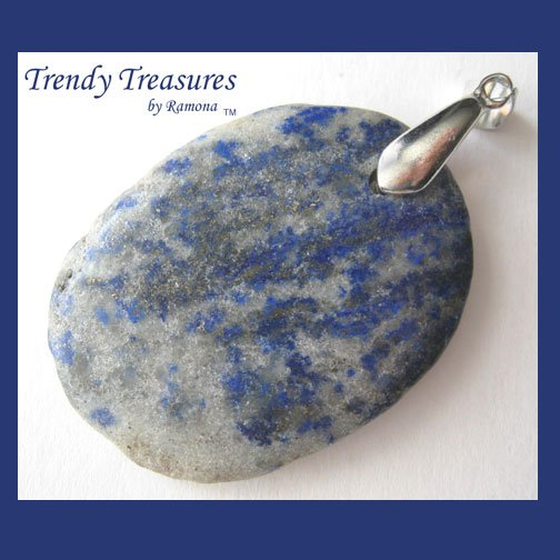 Lapis Lazuli, Pyrite Pendant Polished Oval Gemstone, #TrendyTreasuresByRamona