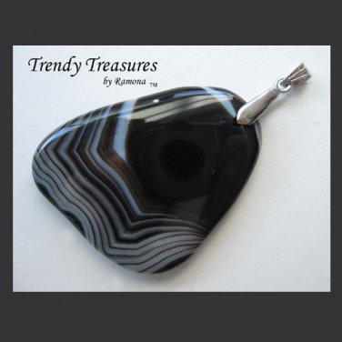 Black Onyx Agate Pendant Polished Gemstone Necklace, #TrendyTreasuresByRamona